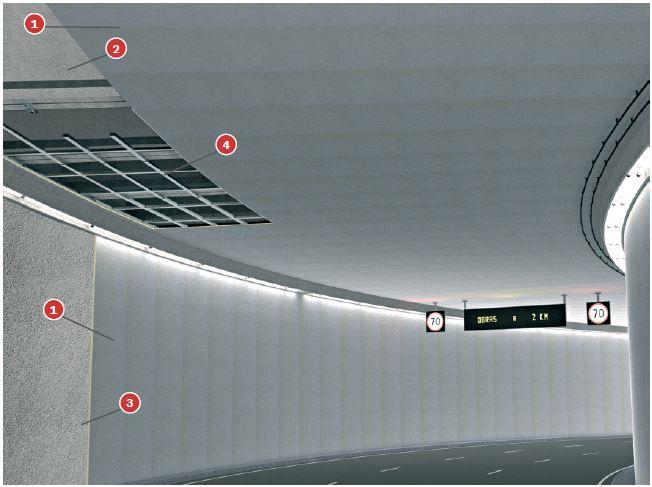 Foto Falso Techo Tuneles Tecbor B 40 sobre estructura metalica RWS-120 yRWS-180