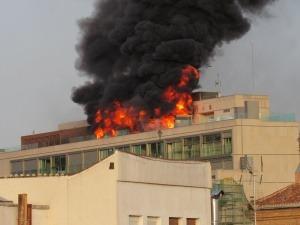 Impactante incendio en el centro de Madrid