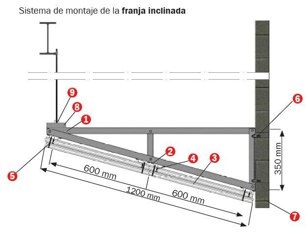 sistema de montaje franja inclinada Tecbor Y